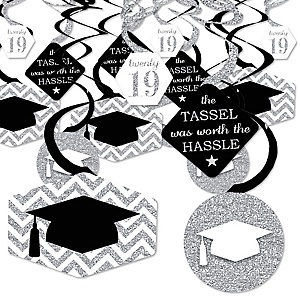 Tassel Worth The Hassle - Silver - 2019 Graduation Party Hanging Decor - Party Decoration Swirls - Set of 40