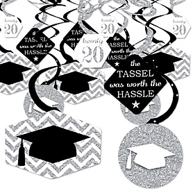 Tassel Worth The Hassle - Silver - 2020 Graduation Party Hanging Decor - Party Decoration Swirls - Set of 40