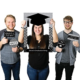 Tassel Worth the Hassle - Silver - Personalized Graduation Party Selfie Photo Booth Picture Frame & Props - Printed on Sturdy Material