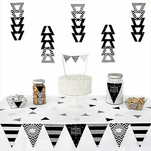 Tassel Worth The Hassle - Silver -  Triangle Graduation Party Decoration Kit - 72 Piece