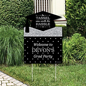Tassel Worth The Hassle - Silver - Graduation Decorations - Graduation Party Personalized Welcome Yard Sign