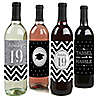 Tassel Worth The Hassle - Silver - 2019 Graduation Wine Bottle Label Stickers - Set of 4
