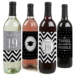 Tassel Worth The Hassle - Silver - 2019 Graduation Decorations for Women and Men - Wine Bottle Label Stickers - Set of 4