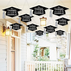 Hanging Tassel Worth The Hassle - Silver - Outdoor Graduation Party Hanging Porch & Tree Yard Decorations - 10 Pieces