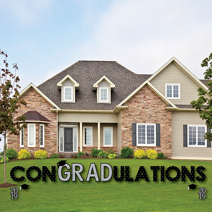 conGRADulations - Tassel Worth The Hassle - Silver - Yard Sign Outdoor Lawn Decorations - 2019 Graduation Party Yard Signs