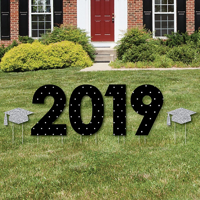 2019 - Tassel Worth The Hassle - Silver - Yard Sign Outdoor Lawn Decorations - Graduation Party Yard Signs