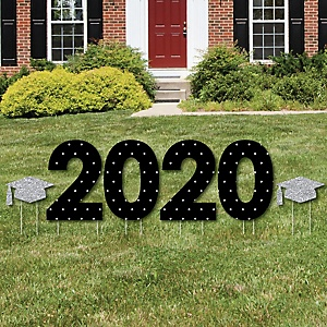 2020 - Tassel Worth The Hassle - Silver - Yard Sign Outdoor Lawn Decorations - Graduation Party Yard Signs