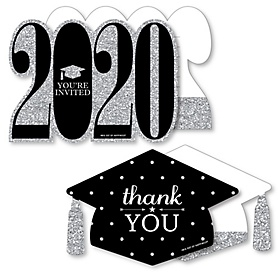 Tassel Worth The Hassle - Silver - 20 Shaped Fill-In Invitations and 20 Shaped Thank You Cards Kit - 2020 Graduation Party Stationery Kit - 40 Pack