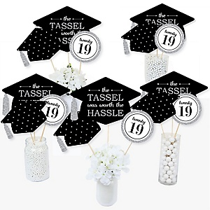 Tassel Worth The Hassle - Silver - 2019 Graduation Party Centerpiece Sticks - Table Toppers - Set of 15
