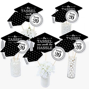 Tassel Worth The Hassle - Silver - 2020 Graduation Party Centerpiece Sticks - Table Toppers - Set of 15