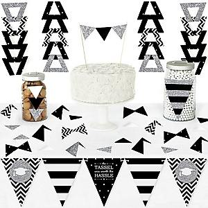Tassel Worth The Hassle - Silver - DIY Pennant Banner Decorations - Graduation Party Triangle Kit - 99 Pieces