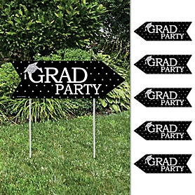 Tassel Worth The Hassle - Silver - Arrow Graduation Party Direction Signs - Double Sided Outdoor Yard Signs - Set of 6