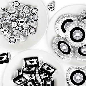 Tassel Worth The Hassle - Silver - Mini Candy Bar Wrappers, Round Candy Stickers and Circle Stickers - 2019 Graduation Party Candy Favor Sticker Kit - 304 Pieces
