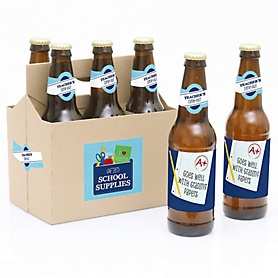 Funny Colorful - Decorations for Women and Men - 6 Last Day of School Teacher Appreciation Christmas Gift Beer Bottle Label Stickers and 1 Carrier