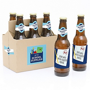 Funny Colorful - Decorations for Women and Men - 6 First Day of School Teacher Appreciation Beer Bottle Label Stickers and 1 Carrier