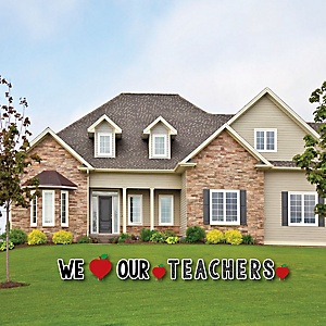 Teacher Appreciation - First Day of School Yard Sign Outdoor Lawn Decorations -Thank You Teachers Yard Signs - We Love Our Teachers