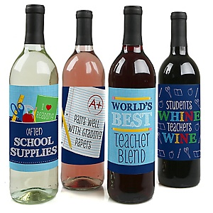 Funny Colorful - First Day of School Teacher Appreciation Decorations for Women and Men - Wine Bottle Label Stickers - Set of 4