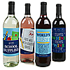 Funny Colorful - Personalized Back to School Teacher Appreciation Wine Bottle Label Stickers - Set of 4