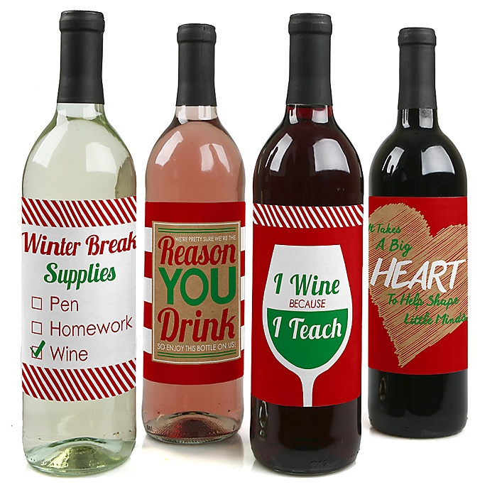 Teacher Christmas - Decorations for Women and Men - Wine Bottle Labels - Gifts for Teachers - Set of 4