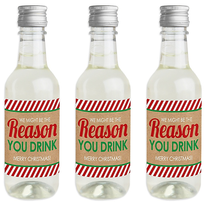 Teacher Christmas - Mini Wine and Champagne Bottle Label Stickers - Holiday And Christmas Gifts for Teachers - Set of 16
