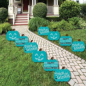 Teal Pumpkin - Lawn Decorations - Outdoor Halloween Allergy Friendly Trick or Trinket Yard Decorations - 10 Piece