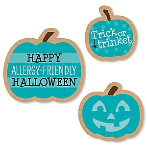 Teal Pumpkin - DIY Shaped Halloween Allergy Friendly Trick or Trinket Paper Cut-Outs - 24 ct