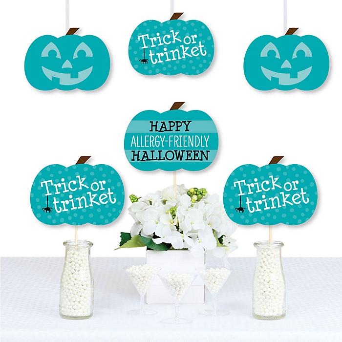 Teal Pumpkin - Pumpkin Decorations DIY Halloween Allergy Friendly Trick or Trinket Essentials - Set of 20
