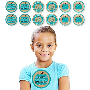 Teal Pumpkin - Halloween Allergy Friendly Trick or Trinket Name Tags - Party Badges Sticker Set of 12