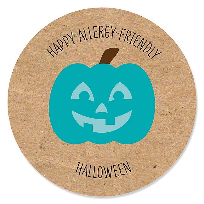 Teal Pumpkin - Halloween Allergy Friendly Trick or Trinket Circle Sticker Labels - 24 ct