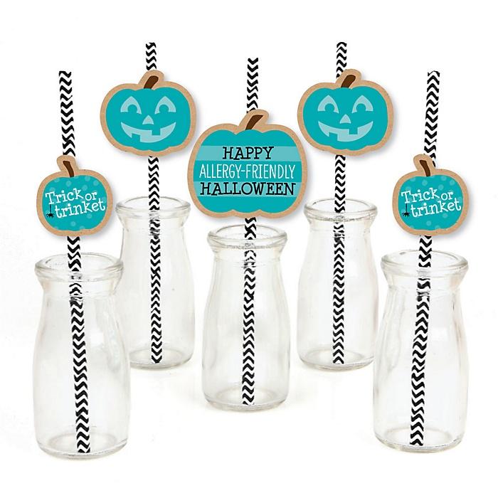 Teal Pumpkin - Paper Straw Decor - Halloween Allergy Friendly Trick or Trinket Striped Decorative Straws - Set of 24