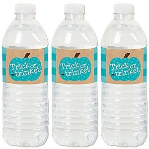 Teal Pumpkin - Halloween Allergy Friendly Trick or Trinket Water Bottle Sticker Labels - Set of 20