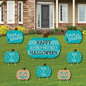 Teal Pumpkin - Yard Sign and Outdoor Lawn Decorations - Halloween Allergy Friendly Trick or Trinket Yard Signs - Set of 8