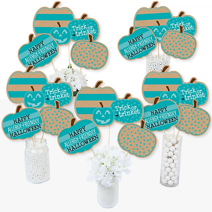 Teal Pumpkin - Halloween Allergy Friendly Trick or Trinket Centerpiece Sticks - Table Toppers - Set of 15