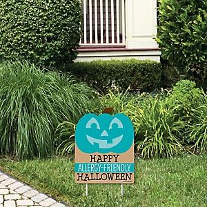 Teal Pumpkin - Outdoor Lawn Sign - Halloween Allergy Friendly Trick or Trinket Yard Sign - 1 Piece