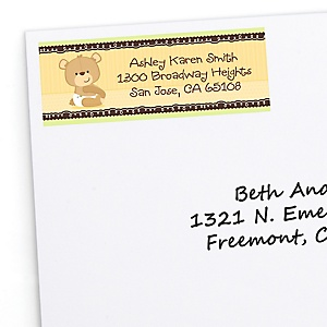 Baby Teddy Bear - Personalized Baby Shower Return Address Labels - 30 ct