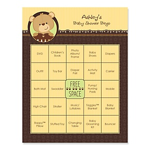 Baby Teddy Bear - Bingo Personalized Baby Shower Games - 16 Count