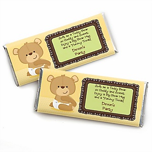 Baby Teddy Bear - Personalized Candy Bar Wrappers Baby Shower Favors - Set of 24