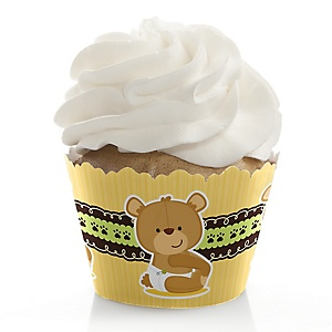 Baby Teddy Bear - Baby Shower Decorations - Party Cupcake Wrappers - Set of 12