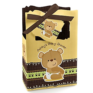 Baby Teddy Bear - Personalized Baby Shower Favor Boxes - Set of 12