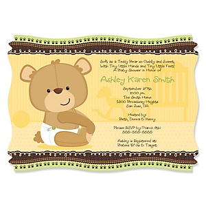 Baby Teddy Bear - Personalized Baby Shower Invitations - Set of 12