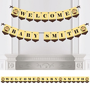 Baby Teddy Bear - Personalized Baby Shower Bunting Banner & Decorations