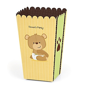 Baby Teddy Bear - Personalized Baby Shower Popcorn Favor Treat Boxes - Set of 12
