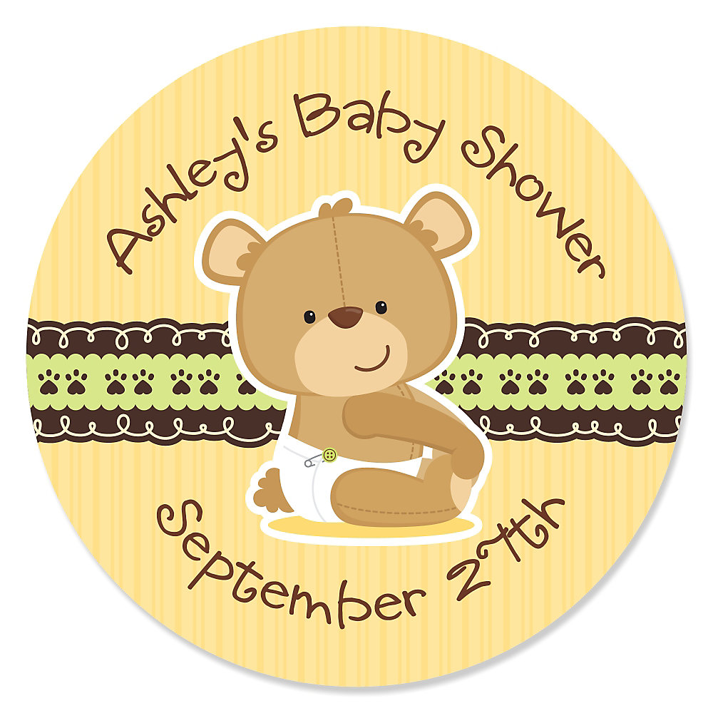 Baby Teddy Bear - Personalized Baby Shower Sticker Labels - 24 ct ...
