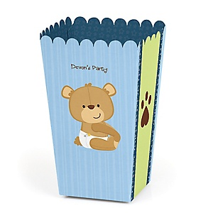 Baby Boy Teddy Bear - Personalized Baby Shower Popcorn Favor Treat Boxes - Set of 12