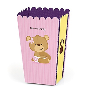 Baby Girl Teddy Bear - Personalized Baby Shower Popcorn Favor Treat Boxes - Set of 12