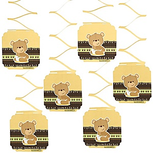 Baby Teddy Bear - Baby Shower Hanging Decorations - 6 ct