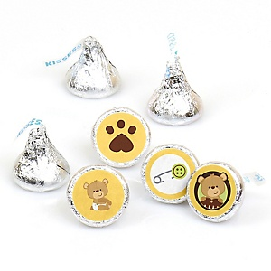 Baby Teddy Bear - Round Candy Labels Baby Shower Favors - Fits Hershey's Kisses - 108 ct