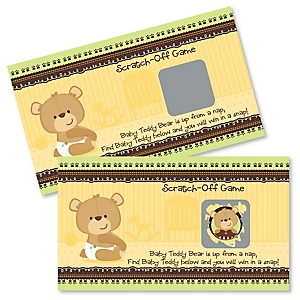 Baby Teddy Bear - Baby Shower Game Scratch Off Cards - 22 ct