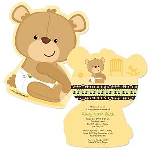 Baby Teddy Bear - Shaped Baby Shower Invitations - Set of 12