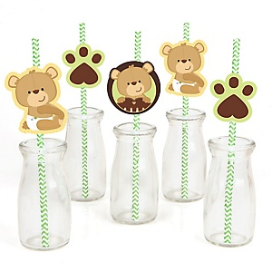 Baby Teddy Bear - Paper Straw Decor - Baby Shower or Birthday Party Striped Decorative Straws - Set of 24